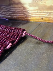 Here is a doormat after all the pipes were pulled, exposing only the ends of the rope. (Photo by Dawn Stahl)