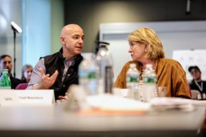 Here, I am conferring with Todd Waterbury, Chief Creative Officer of Target (Photo by Dana J. Quigley Photography)
