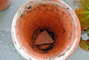 A clay shard is placed over the hole to help with drainage.