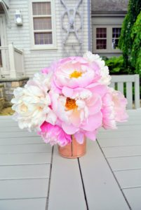 Here are some beautifully colored peonies from my garden - Laura never forgets to add beautiful blooms to the table.