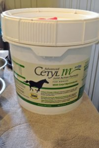 Among the powders, this is Advanced Cetyl M Joint Action Formula. It contains Cetyl Myristoleate which is a unique, esterified fatty acid. It is found to work in conjunction with other proven joint-enhancing ingredients to deliver the greatest benefit to the horse. It is the only equine joint health product that uses 100-percent plant-based CM.