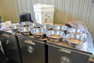 We use these large stainless steel dog bowls to mix up each horse's dose - each bowl is properly labeled, so there is no confusion which supplements go into what bowl. We also label them AM and PM, so it is clear which items are for morning and evening feedings.