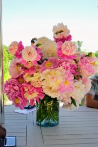 Here is a vase of beautifully colored peonies - all picked right here at the farm.