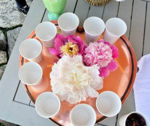Laura always creates such beautiful tablescapes. Here are some gorgeous peonies decorating a tray of cups for the juice.