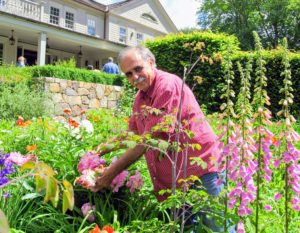 Here is Levi working in the flower garden.