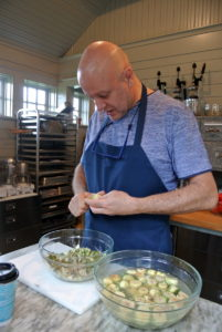 My friend, Chef Pierre Schaedelin from PS Tailored Events, arrived early to start preparing another one of his delicious meals. He uses the flower room kitchen for most of his preparations.