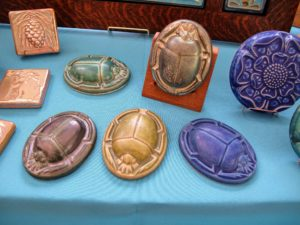 These were interesting - new scarab paperweights in a variety of iridescent glazes, including Pewabic Blue, Matte Green Iridescent, Cobalt, Lime, and Gunmetal.