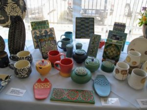 There were many other ceramic creations displayed - tiles, vessels, cups and plates. These are by artist Nicole Pepper, ModHome Ceramics in Seattle, Washington and Sarah & Thomas of Gelsenliter in Milan, Michigan.