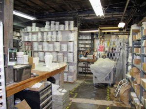 This room at Pewabic is used for the glazing and tile pressing stages of the production process.