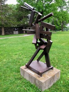 This is also by artist, David Smith, called 'Becca', 1964. Its elements are welded, a process in which pieces of steel are pressed together and heated with a blowtorch. Smith was considered a master of fine-art welding.