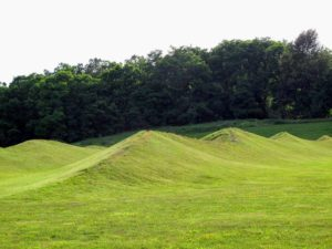 "And here is Maya Lin's, 'Storm King Wavefield', 2007–08. The seven nearly four-hundred-foot-long ""waves"", ranging 10 to 15-feet high appear so naturally in the landscape."