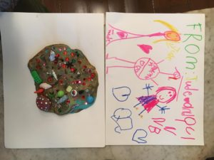 "Here is a photo of the ""cake"" and the drawing from Jude and Quinn. (Photo by Kate Berry)"