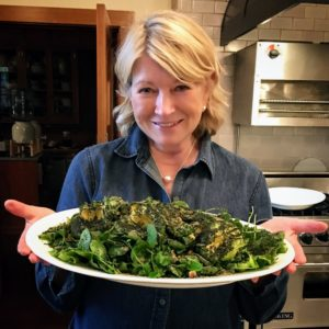Here I am holding a chicories and seaweeds salad. The recipe is from Kate Berry's friend, Camille Becerra, chef at the downtown NYC restaurant, De Maria. It's a new take on the kale salad! (Photo by Kate Berry)