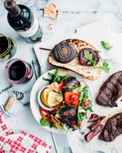 This is Harissa-Rubbed Steak with Grilled Pita Salad paired with a 2014 Le Vassal De Mercues Cuvée Le Dueze, one of my favorites. The Summer Sweets Collection Stemless Wine Glasses are exclusively from Macy's. (Photo courtesy of Foodess) http://marthastewartwine.com/products/2014-le-vassal-de-mercues-cuvee-le-dueze https://www.macys.com/shop/product/martha-stewart-collection-summer-sweets-collection-only-at-macys?ID=4531559&CategoryID=31839