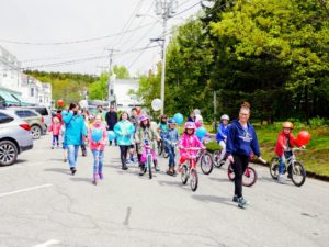"""Here are some of the """"cyclists"""" from the local elementary school."""