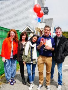 Here are my weekend guests - Katie Hatch, Hannah Milman, Kate Berry, Douglas Friedman and Kevin Sharkey. Douglas is holding a red, white and blue donut from the Colonel's Restaurant and Bakery, a longstanding cafe in town.
