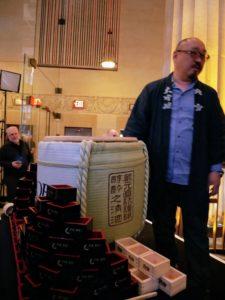 Nobu's saki master, Hazu-san, or Fumio Hazu, serves the sake in these special sake boxes.