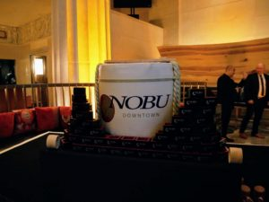 Here is the signature drum barrel that appears every time a new Nobu restaurant is opened - it is used as part of the traditional sake ceremony and launch party reception.