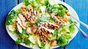 This is another summertime favorite - Grilled Chicken Caesar Salad with Ciabatta Croutons. The chicken is marinated only briefly, but plenty of lemon juice makes the meat incredibly tender. And, the dressing is light, garlicky, and full of flavor. (Photo by Linda Pugliese)