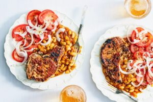 Another dish offered on our Martha & Marley Spoon menu is this BBQ Glazed Berkshire Pork Chops with Quick Baked Beans & Tomato Salad. The chops are glazed with a Memphis-style BBQ sauce simmered with apple juice and grainy mustard. A simple salad of tomatoes and sliced onions round out the meal. (Photo by Linda Pugliese)