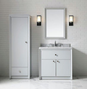 Here is the same Parrish Collection bathroom set-up in Dove Grey. This is the 36-inch Bath Vanity, Mirror and Tall Side Unit.