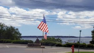 Here are some flags flying in Seal Harbor.