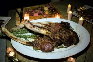 We served the tomahawk steaks with peppercorn sauce. (Photo by Meredith Heuer)