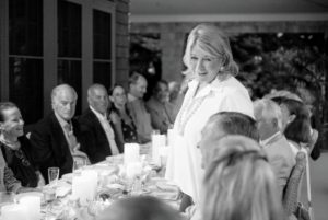 Before we all ate, I stood up to welcome all the guests and to wish Ben and Bonnie a wonderful birthday. (Photo by Meredith Heuer)