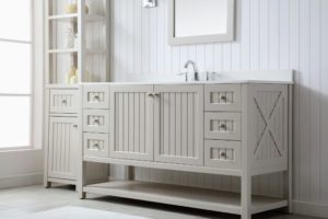 Here is the 60-inch Seal Harbor Collection vanity in Sharkey Gray. This collection features shelving under the vanity that's perfect for storing towels and baskets.