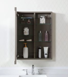 This is the Sutton Collection Medicine Cabinet in Brook Trout. It comes with eight adjustable shelves, making it easy to thoroughly customize storage.