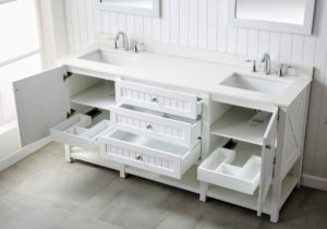 The Seal Harbor Collection comes ready to install with beautiful pure white quartz counters and brushed nickel hardware. Vanities are pre-drilled for an eight-inch widespread faucet.