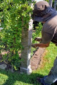 At one end, Wilmer ties green jute twine to one of the granite posts.