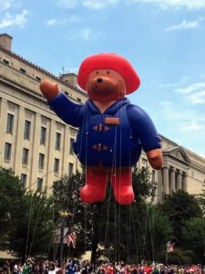 The Flag ceremony was followed by a parade on Constitution Avenue with fireworks over the Washington Monument. Here is Paddington Bear.