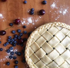 "Marketing manager, Emily Archer, shows us her ""before"" image of the blueberry-cherry pie she made for her family's Fourth of July celebration."