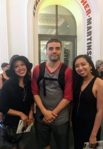 In this photo, the sisters are joined by actor, Oscar Isaac, who played Hamlet.