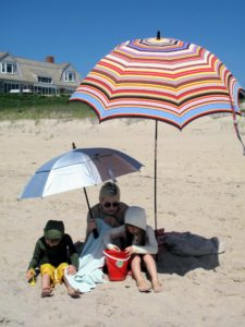 It was a beautiful day at East Hampton Main Beach with my daughter, Alexis, and my grandchildren, Jude and Truman. Alexis makes sure everyone is well protected from the sun with umbrellas and sun-protective hoodies.
