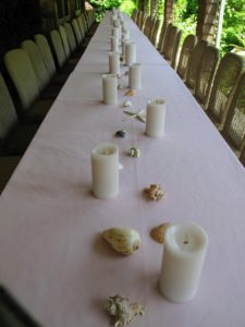 All our table candles are from Luminara - great pillar candles that glow for 500-hours on two-batteries. These were custom made for my party, but they come in various colors and sizes for both indoor and outdoor use. http://luminara.com/