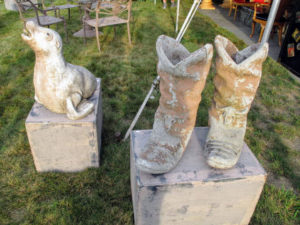 Here are some other stone figures - a pair of cowboy boots and a seal.