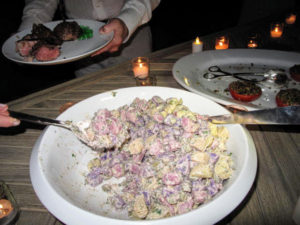 This is red, white, and blue potato salad with vermouth.