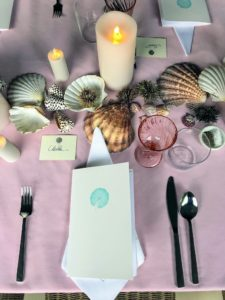 Here is my place setting from above - Kevin makes such beautiful place cards. And, for every dinner party, I always include a menu.