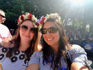 Here are Kelly and her sister in law, Rebecca, at the Barnstable Village parade wearing patriotic flower crowns.