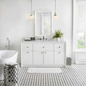 The Bath Vanity and Mirror from this collection is in a clean, Bright White color. http://www.homedepot.com/collection/bath/parrish-collection