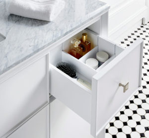 The Parrish Collection includes a Carrara marble countertop and brushed nickel geometric knobs. All our vanities come fully assembled with countertops and hardware - we make it so easy!