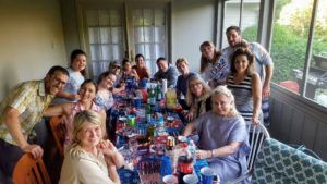 And here I am with Sophie, her husband Dan, my dear friend Memrie Lewis, neighbors and Sarah's family - Brooklynn Levins, Virginia Saylor, Sonny Levins, Ava Richardi, Rina Richardi, Kevin Richardi, Denis Leary, Devin Leary, Zac Clark, Dolores Levins, and Ann Leary. It was a wonderful holiday for all.