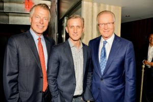 In this photo - NY Post columnist, Richard Johnson, chief legal affairs anchor for ABC News, Dan Abrams, and WNBC news anchor, Chuck Scarborough. (Photo by Patrick McMullan/PMC)