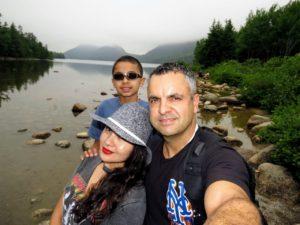 Rock took this selfie with his wife, Marisol, and Nicholas. This is at Jordan Pond with the Bubbles behind them.