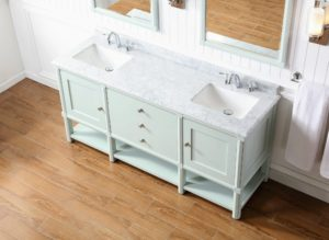 And a beautiful Carrara white-gray marble vanity top with brushed nickel cabinet hardware. All our collections are beautifully designed and durable - you'll love all our pieces.