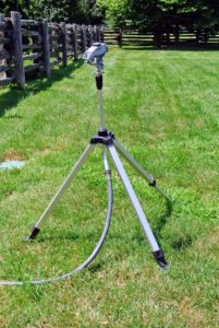 I love these tripod sprinklers - the height, distance and spray patterns can be adjusted to suit so many garden needs. They're also very, very sturdy, and because they're all-metal, they can stand-up to frequent use around the property.