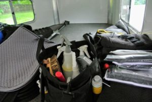 There is additional storage space in the gooseneck of the trailer for more supplies, and equipment.