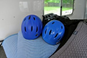 Here are my grandchildren's riding helmets in case they want to ride also.